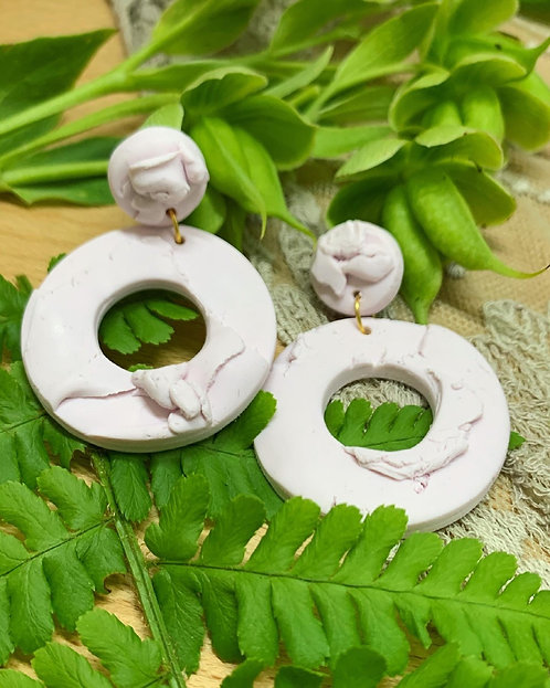 Baby Pink folded hoops