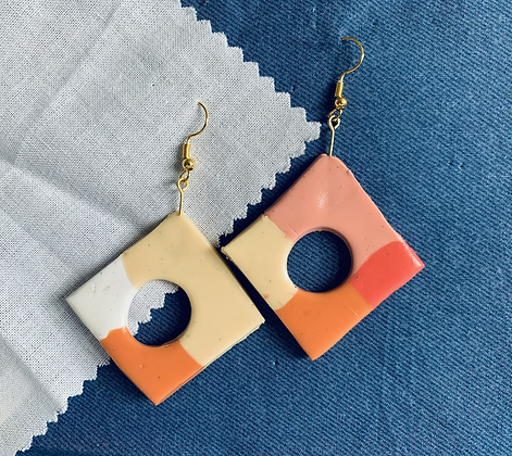 60's Style Square Dangle Earrings