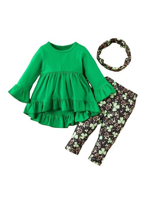 3 Pieces Kid Girl Hi-Lo Hem Green Top & Clover Print Pants & Headband Set