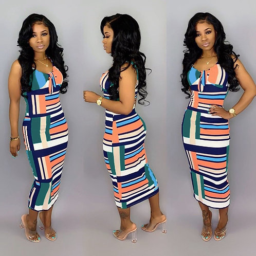 Fashion Sexy Striped Print Sleeveless Midi Dress