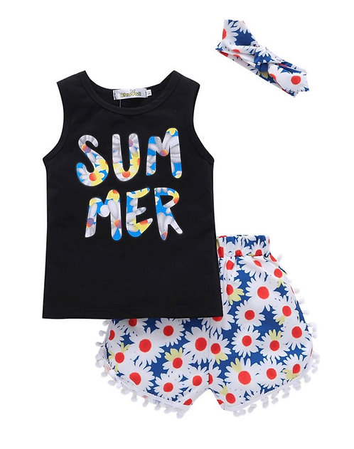 3 Pieces Girl Summer Print Tank Top Pom Pom Flower Shorts Headband Outfit