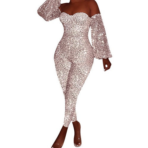 Charming Women Top Sale Off Shoulder Sexy Sequin Shining Long Sleeve Party Club