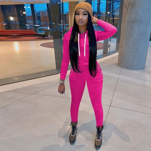 Pink stacked pants jogger
