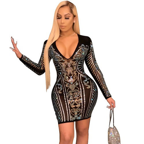 Lady Elegant Sexy Hot Drilling Mesh Perspective Night Club Party Sexy Street Min
