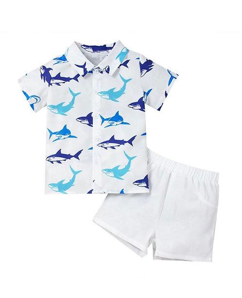 2-Piece Boy Outfit Shark Graphic Shirt Matching Short