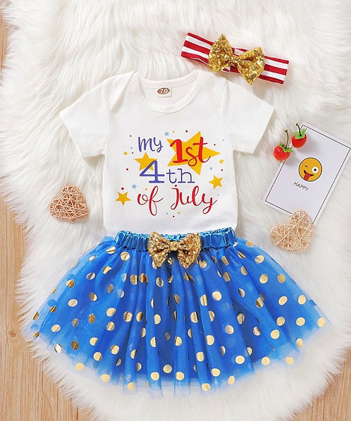 3 Pieces Infant Girl My 1st 4th Of July Independence Day Bodysuit & Sequins Polk