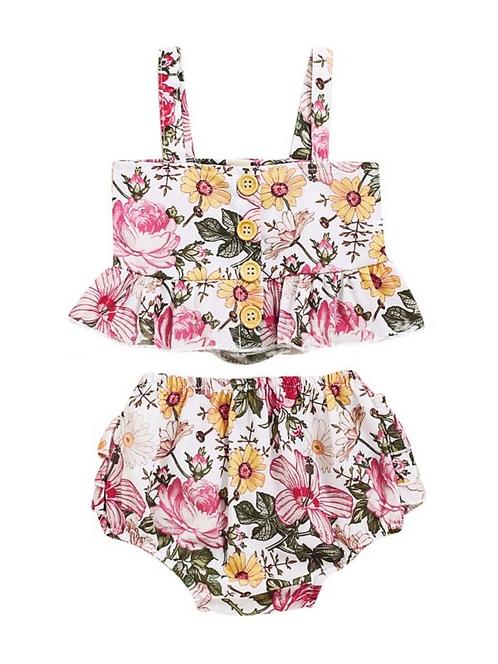 2 Pieces Infant Toddler Girl Floral Set Ruffle Hem Cami Top & Shorts