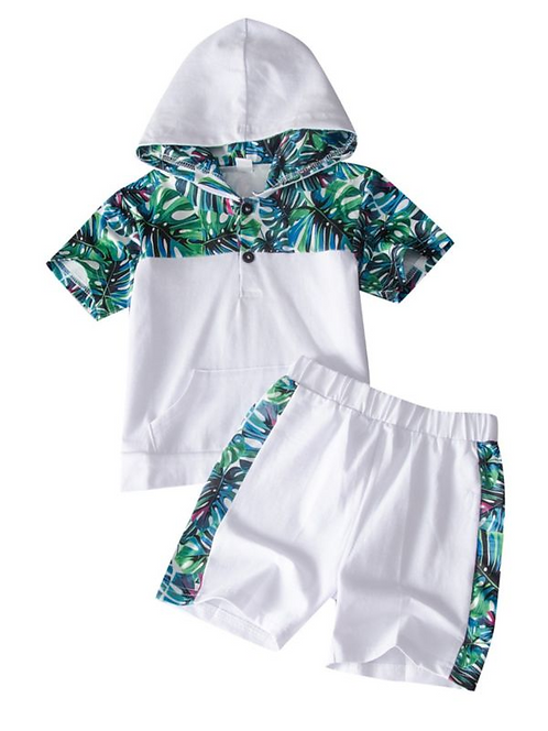 2 Pieces Kid Leaf Colorblock Set Hooded Top And Shorts