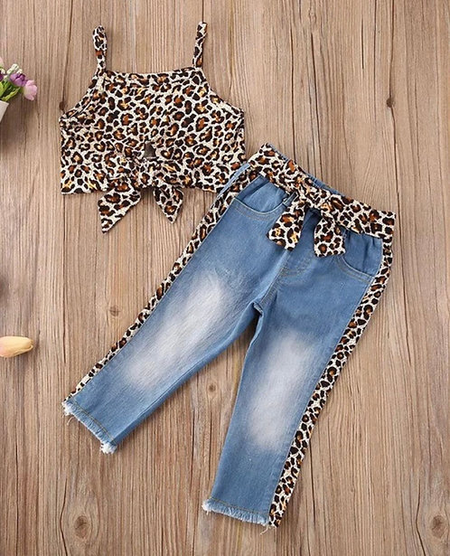 2 Pieces Kid Girl Leopard Knotted Hem Cami Crop Top And Jeans Set