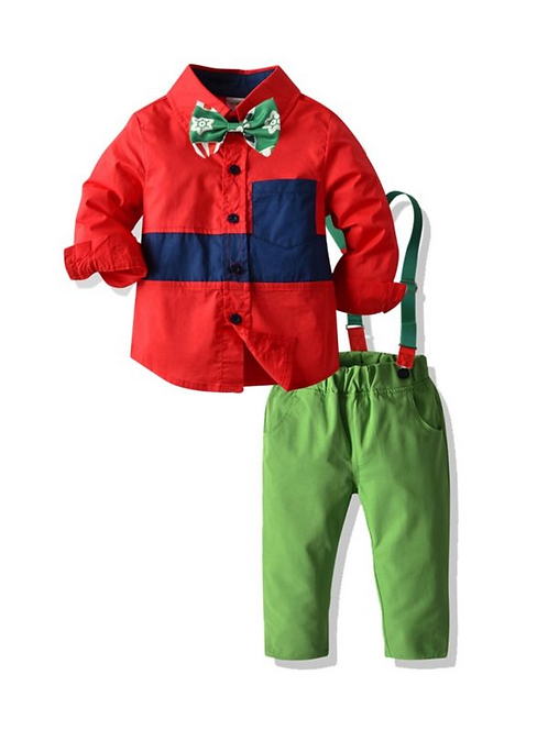 2 Pieces Kid Boy Outfit Color Blocking Bowtie Shirt Matching Overall Pants