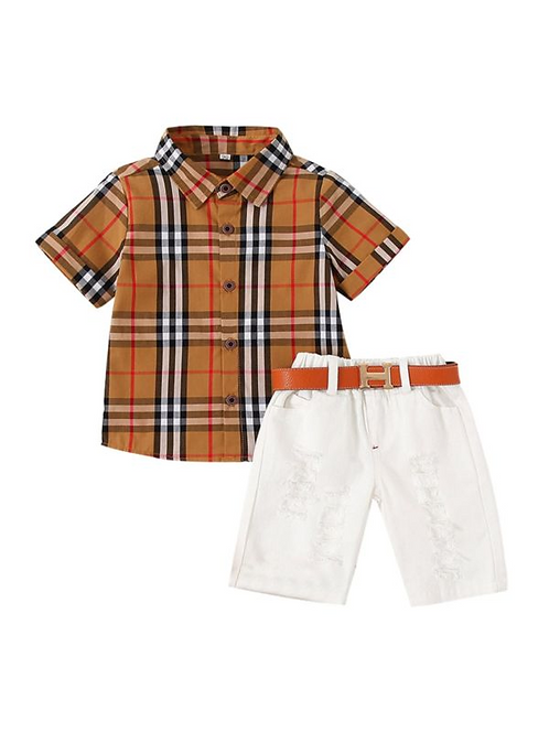 2 Pieces Kid Boy Check Shirt And Belted Shorts Set