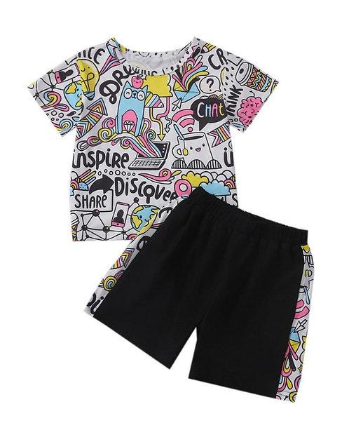 Two Pieces Kid Graffiti Print Tee And Shorts Set