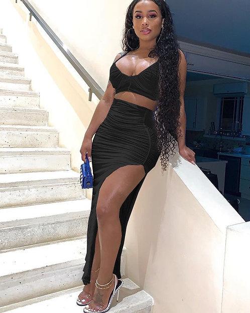Fashion Sexy Ruched Irregular Split Skirt set