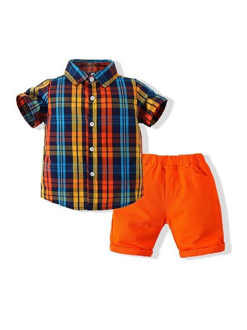2 Pieces Kid Boy Checked Shirt & Shorts Set