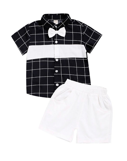 2-Piece Kid Boy Formal Outfit Plaid Pattern Bowtie Shirt With Shorts