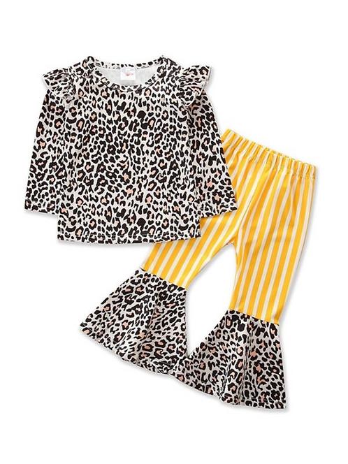 2 PCS Kid Girl Leopard Striped Print Set Flutter Sleeve Top And Flared Pants