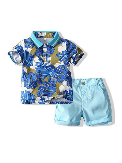2 Pieces Kid Boy Leaves Polo Shirt & Shorts Set