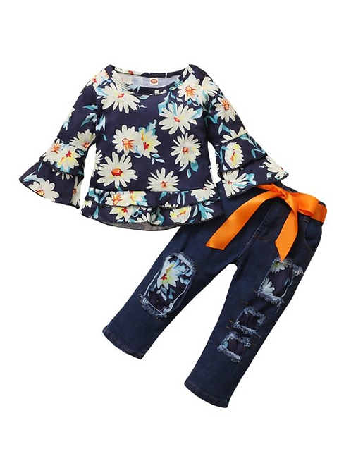 2 PCS Kid Girl Daisy Flower Flared Sleeve Top And Distressed Denim Pants Outfit