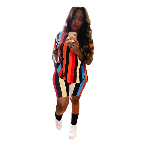 Colorful Striped Two Piece Shorts Set