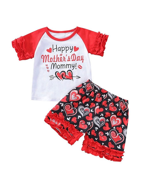 2 Pcs Girl Set Happy Mother's Day Top Matching Stripe Love Heart Shorts Set