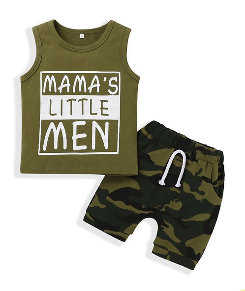 Two-Piece Baby Boy Mama's Little Man Camouflage Set Tank Top With Drawcord Short