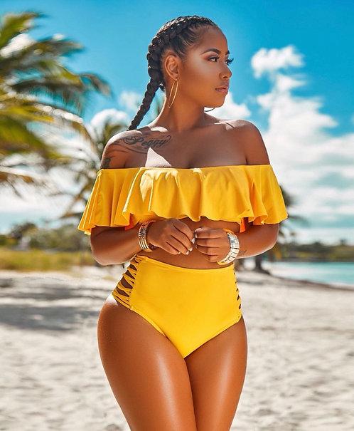 Plus Size Sexy Solid Swimsuit 2pcs Bikinis