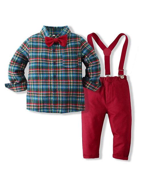2 PCS Baby Toddler Boy Check Bowtie Shirt And Suspender Pants Set