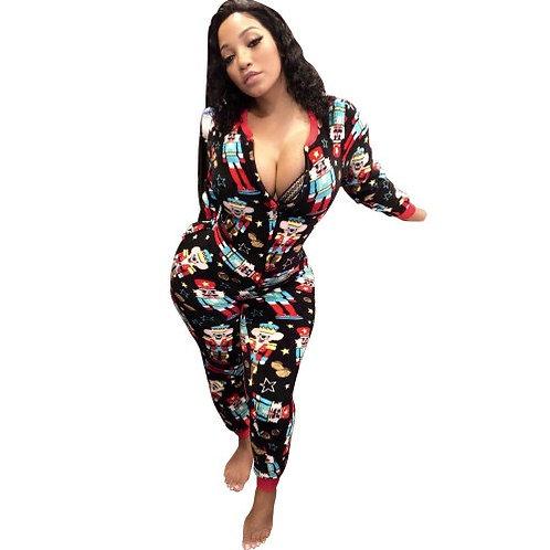 Women Pajama Onsies Spring Fall Casual Slim Cotton Long Sleeve Homewear Jumpsuit