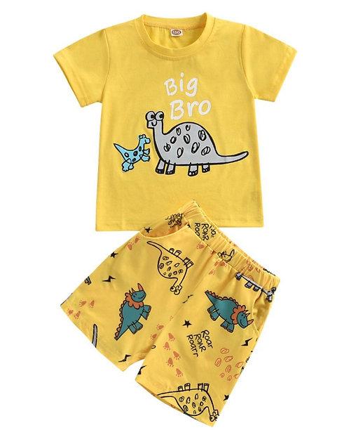 2 Pieces Kid Boy Big Bro Set Dino Top And Shorts