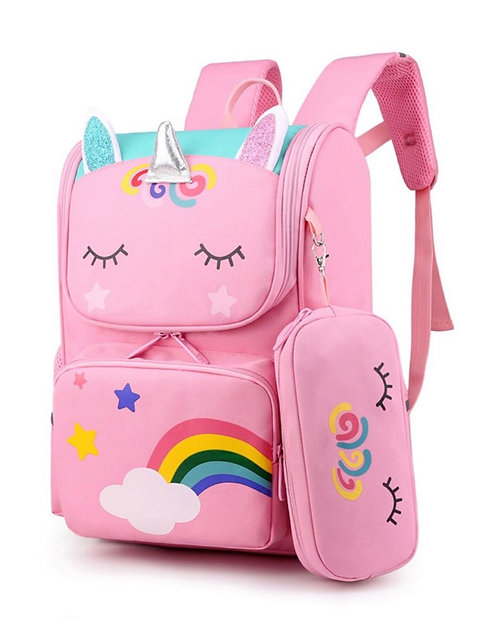 Little Girl Unicorn Print School Bag And Pencil Case