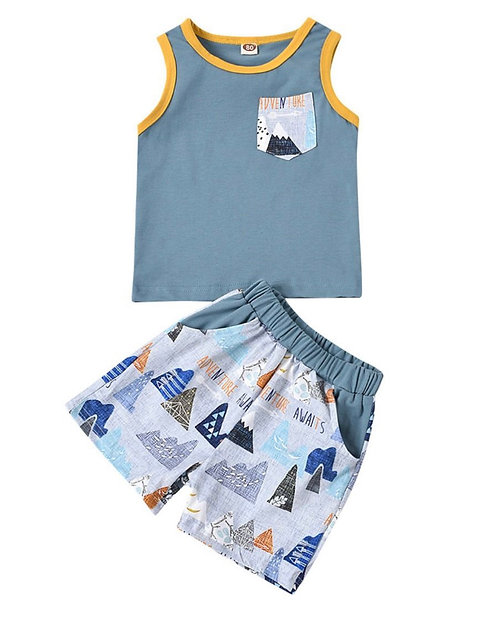 2 Pieces Baby Toddler Boy Pocket Front Tank Top And Shorts Cartoon Set