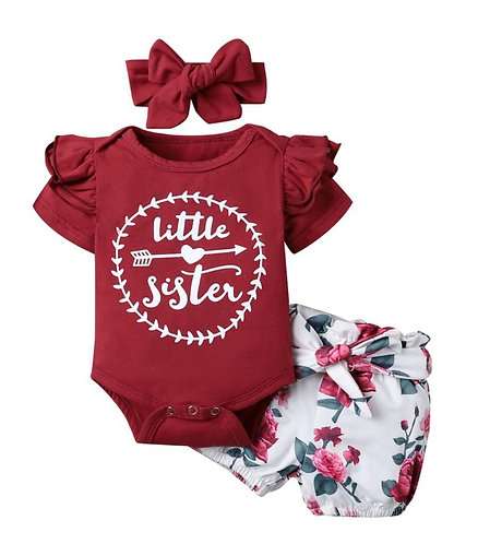 There Pieces Little Sister Floral Set Bodysuit And Shorts & Headband