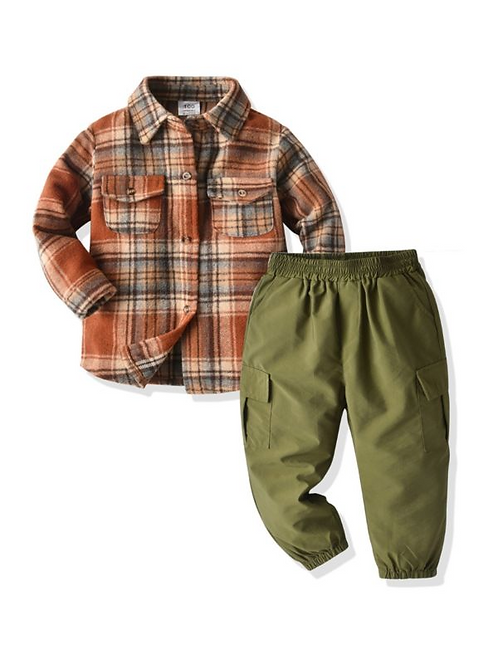 2 Pieces Kid Boy Outfit Flat Pocket Plaid Shirt & Pants