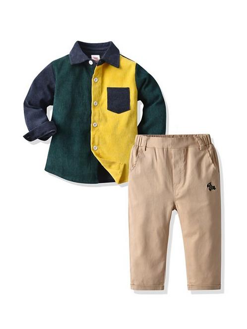 2 Pieces Kid Boy Corduroy Colorblock Shirt Matching Trousers Set