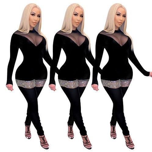 Lady Mesh Deep V-Neck Long Sleeve Shining Colorblock Jumpsuits
