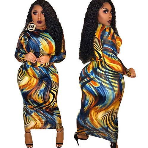 Women Hot Sale Printing Long Sleeve Maxi Bodycon Dress Brown