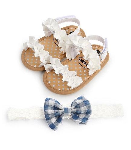 2 Pieces Baby Girl Ruffled Trim Sandals Matching Headband