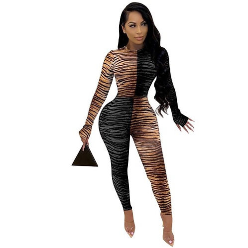 Lady Striped Leopard Colorblock Long Sleeve Sexy Tight Jumpsuit Black