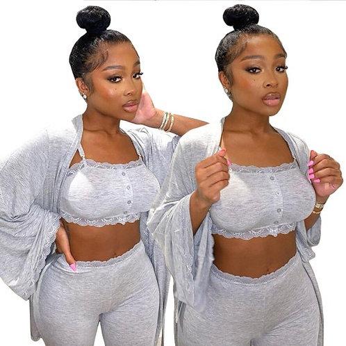 3 Pieces Set Women Fashion Grey Home Wear Set