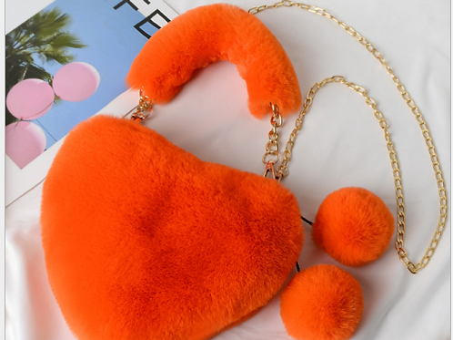 Solid Color Plush Heart-Shaped Bag