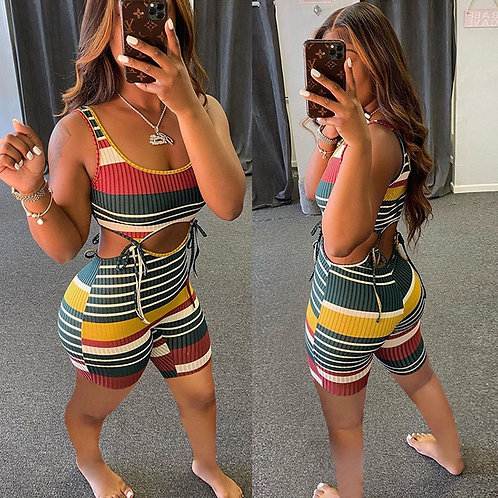 Colorful Striped Lace Up Hollow Romper