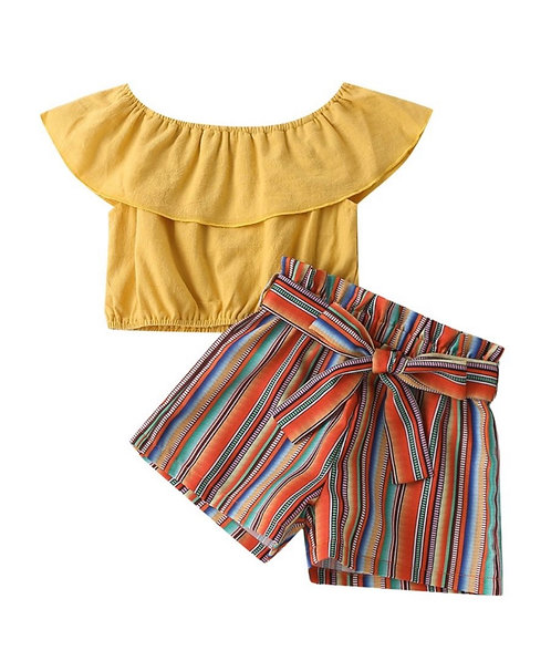 Two Pieces Girl Set Off Shoulder Plain Top Matching Stripe Belted Shorts
