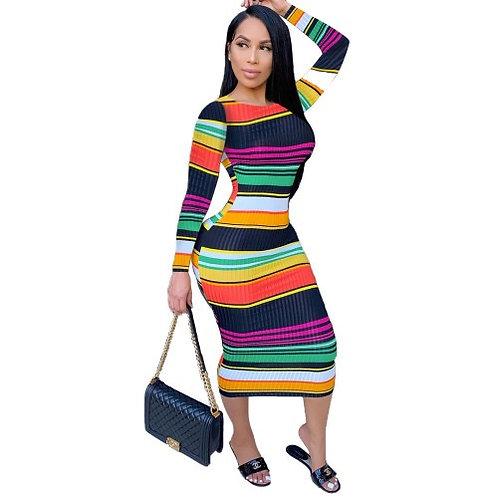 Women Casual Long Sleeve Slim One Piece Dress