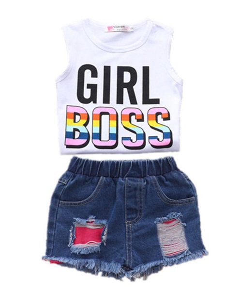 2 Pieces Girl Boss Print Tank Top And Patched Ripped Denim Shorts Set
