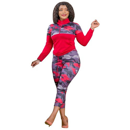 Plus Size Women Camflouge Printed Two Piece Tracksuit S-5XL