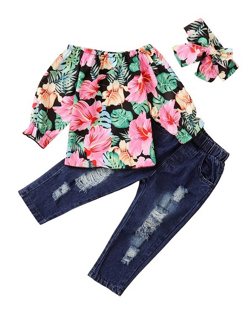 3 Pieces Kid Girl Flower Off Shoulder Top & Distressed Jeans & Headband Set