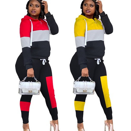 Colorblock Sports Suit Two pieces Outfit