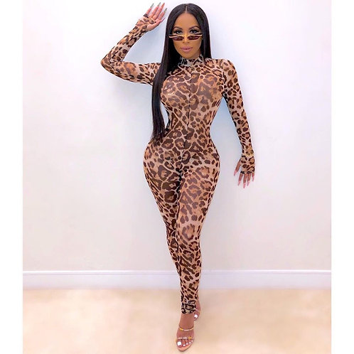 * Sexy Leopard Mesh See Through Skinny Jumpsuit *