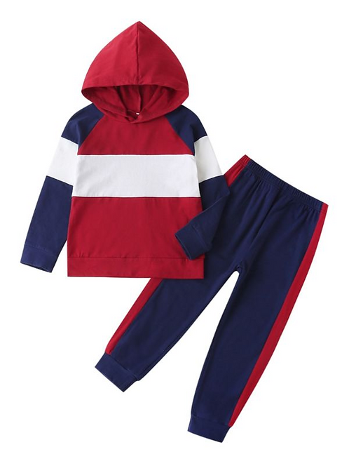 2 Pieces Kid Boy Colorblock Outfit Hooded Sweatshirt And Pants