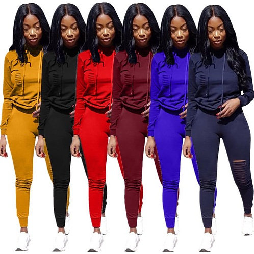 Women Casual Long Sleeve Hoodies Hole Pants Sportwear Two pieces Outfit